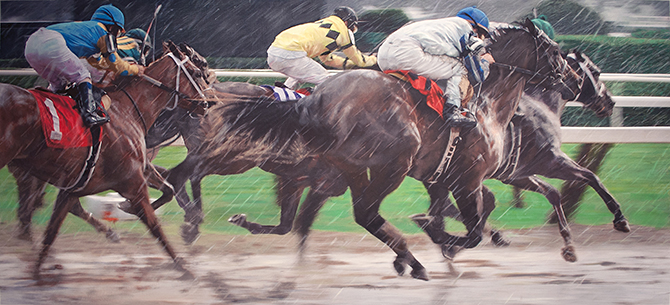 Hyperrealism horserace painting Death Seat at Saratoga Racetrack by Denis Peterson