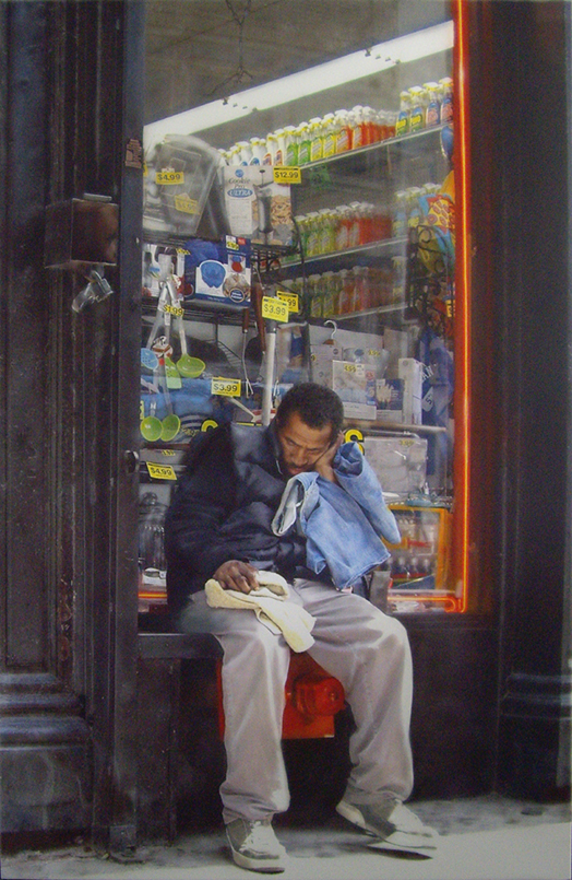 Hyperrealism painting Neon Lights by Denis Peterson