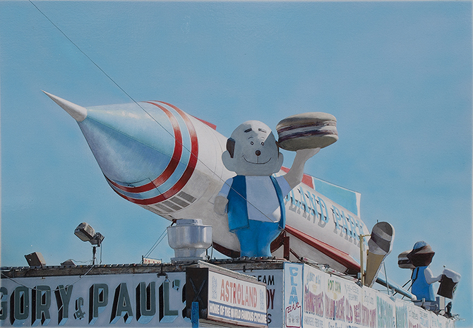 Coney Island photorealist painting Rocket Man by Denis Peterson