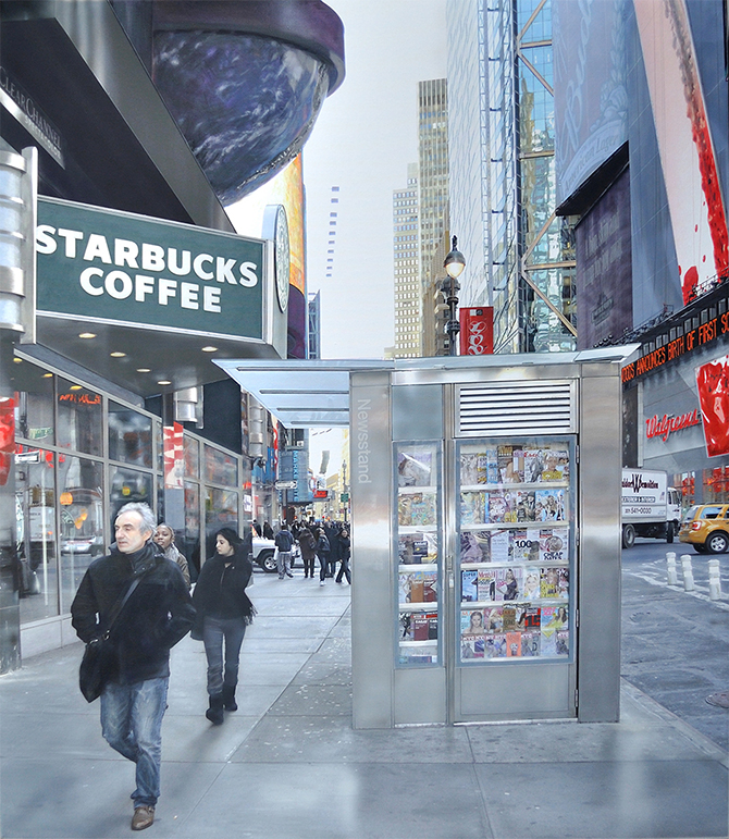 Photorealism painting Walkin' NY by Denis Peterson